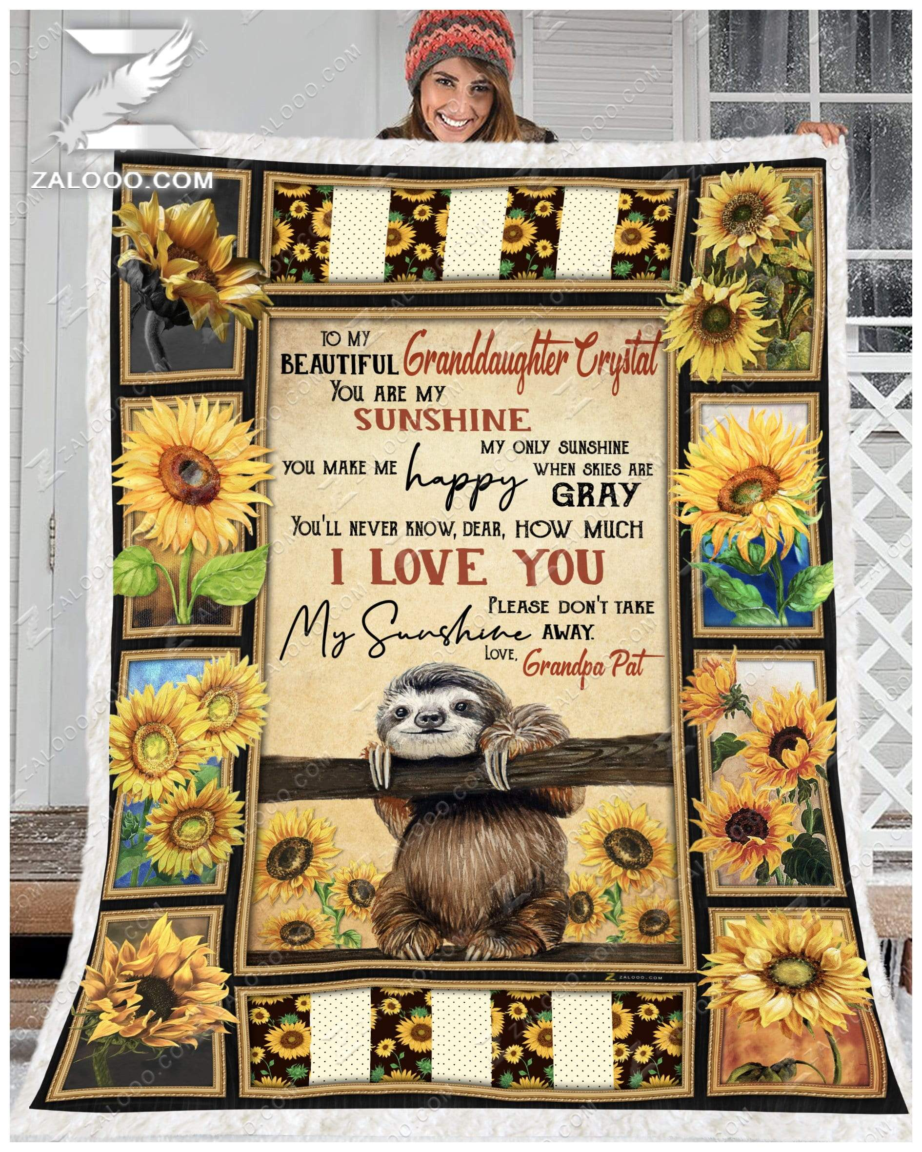 Sloth -  To My Beautiful Granddaughter Crystal Quilt Blanket EP2556