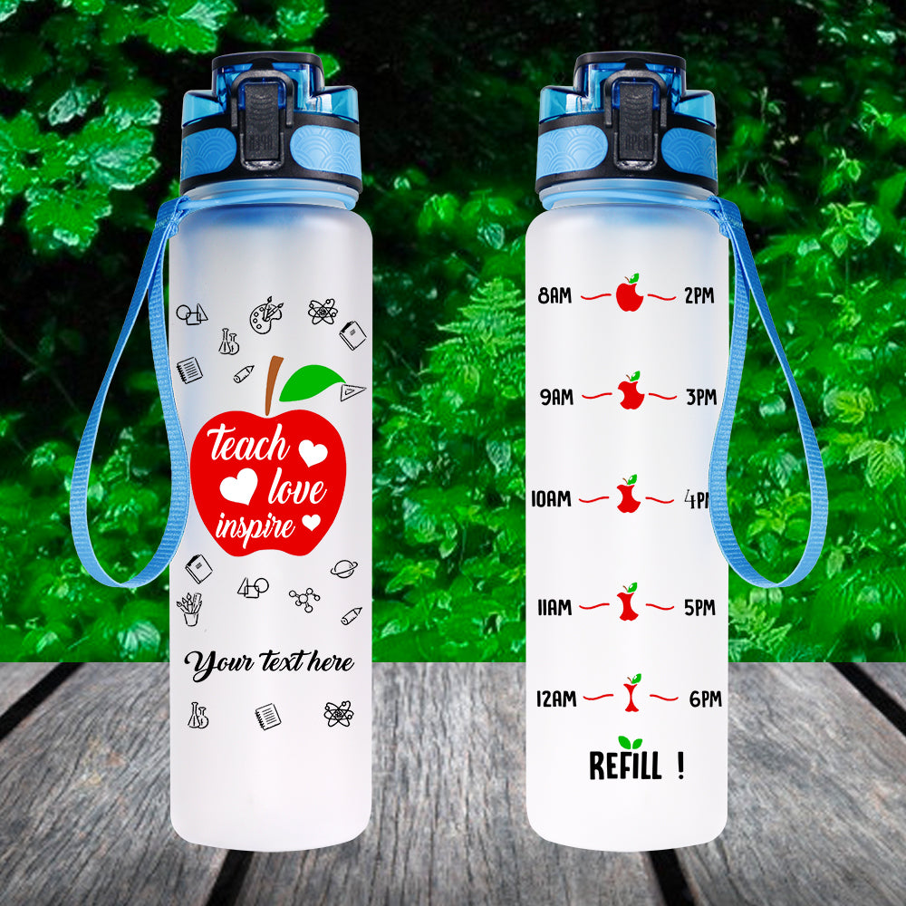 Teacher Love Inspire Personalized Water Tracjer Bottle WTB01