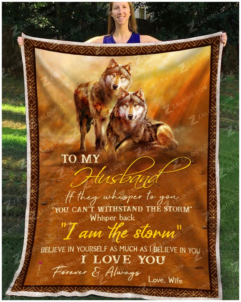 Wolf - To My Husband - I Love You Forever  Always Quilt Blanket EP2660