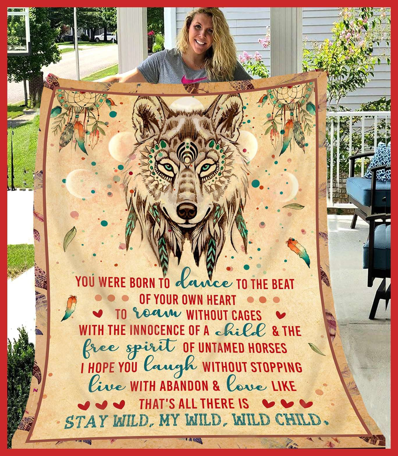 Wolf - Stay Wild My Child Wild Child Quilt Blanket EP2450