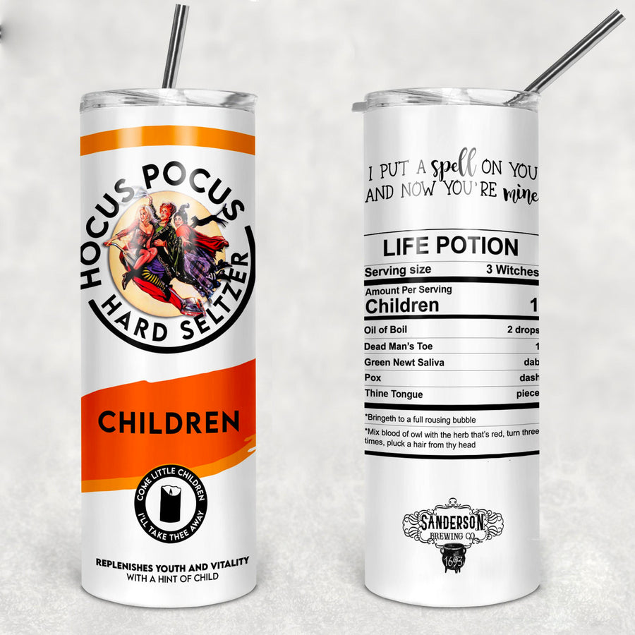 Hocus Pocus Sanderson Sisters White Claw Stainless Steel Skinny Tumbler TBL125