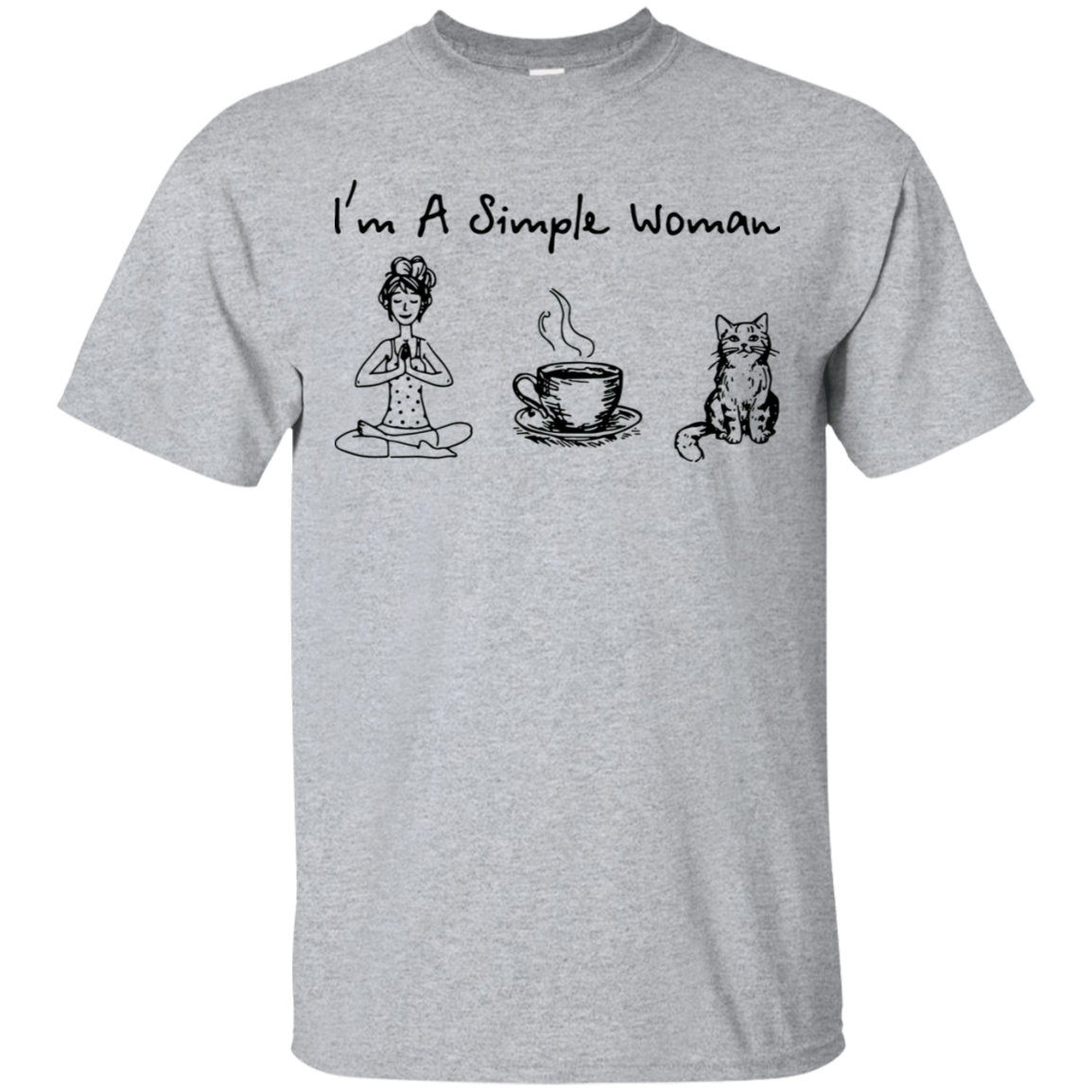 I Am A Simple Woman Yoga Cat Tshirt