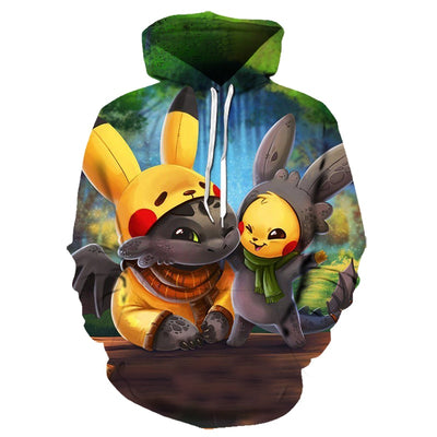 2019 new cartoon hoodie Pokemon detective Pikachu 3D All Over Hoodie PF126