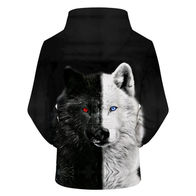 Ying and Yang Wolf All Over Hoodie PF107