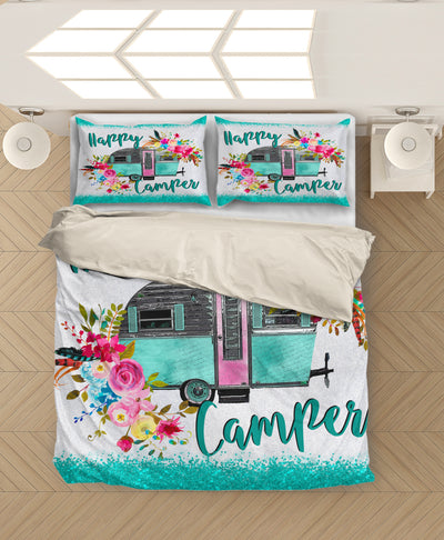 Happy Camper Flowers Bedding Set Quilt Blanket EP327