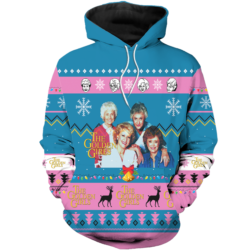 The Golden Girls Ugly Christmas All Over Hoodie Sweatshirt PF154