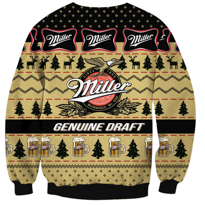 Miller Genuine Draft Print Ugly Christmas Sweatshirt Hoodie All Over Printed PF186