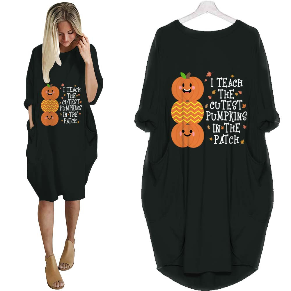 Teacher Cutes Pumpkin BATWING DRESS