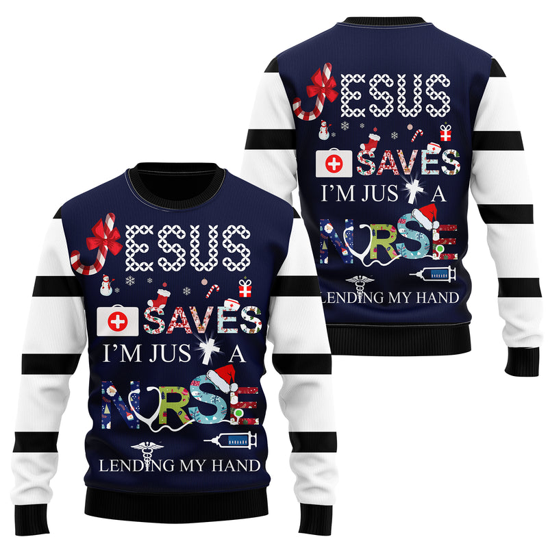 Nurse Save Heart Christmas Sweatshirt Hoodie All Over Printed PF229