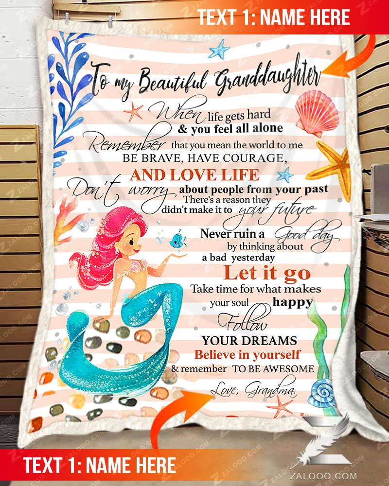 Custom MERMAID - For Granddaughter From Grandma - Remember to be awesome - 1