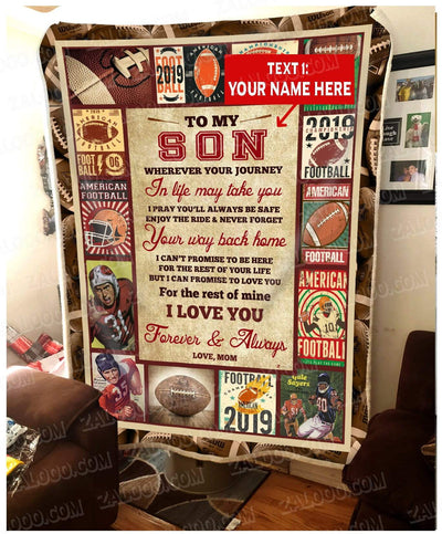 Personalized FOOTBALL - Son Mom - Wherever Your Journey In Life May Take You - 3