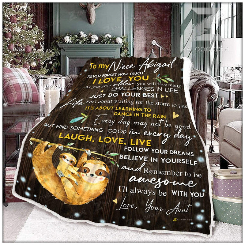 Custom SLOTH - NIECE Aunt - Ill always be with you Quilt Blanket EP2355