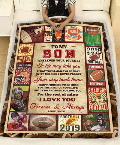 Personalized FOOTBALL - Son Mom - Wherever Your Journey In Life May Take You - 1
