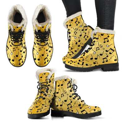 Yellow Music Notes Design Faux Fur Leather Boots Winter Shoes