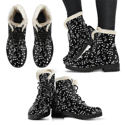 Black Music Notes Design Faux Fur Leather Botts