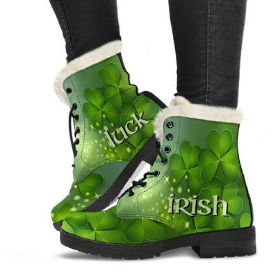 St Patricks Irish Luck Faux Fur Leather Boots