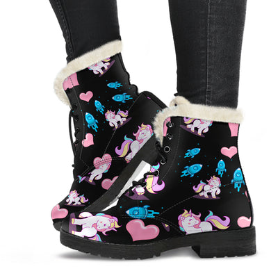 Unicorn and Rockets Faux Fur Lined Boots