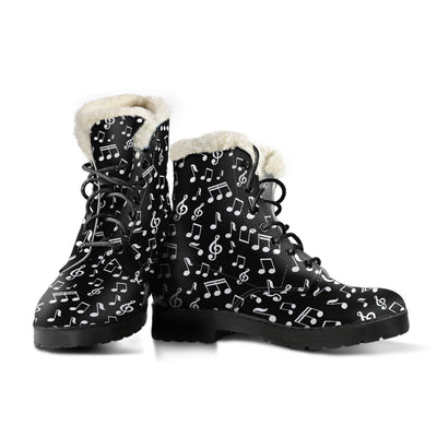 Black Music Notes Design Faux Fur Leather Boots