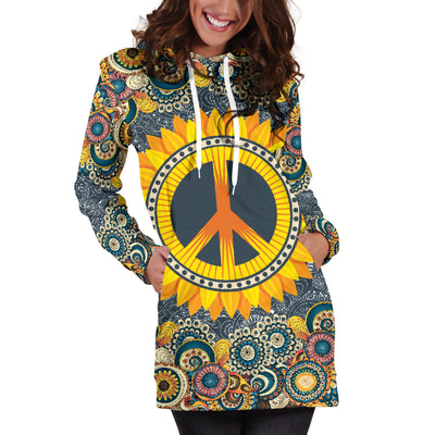 Peace Mandala Hoodie Dress
