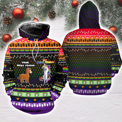 Your Best Friend My Best Friend Horse And Unicorn Ugly Christmas Sweatshirt Hoodie All Over Printed PF292
