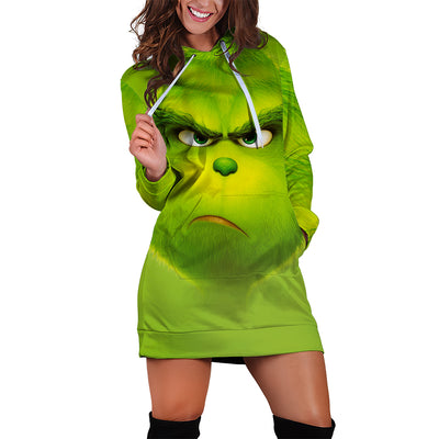Grinch Face All Over Women Hoodie Dress PF101