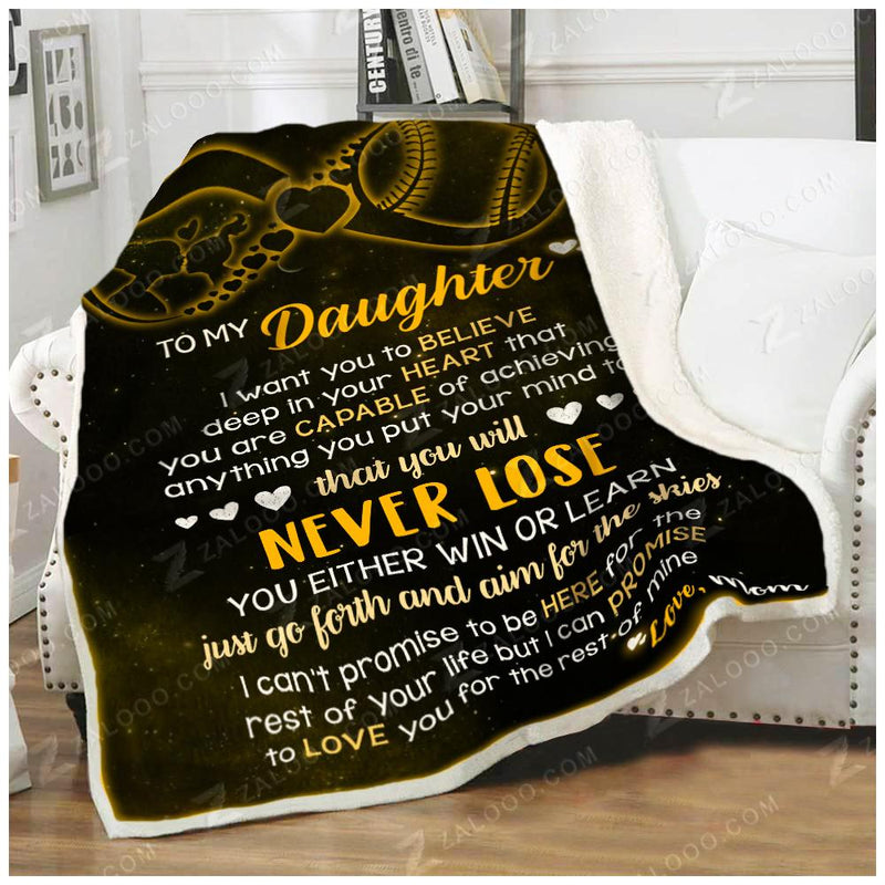 Softball - To My Daughter - I Want You To Believe Quilt Blanket EP2788