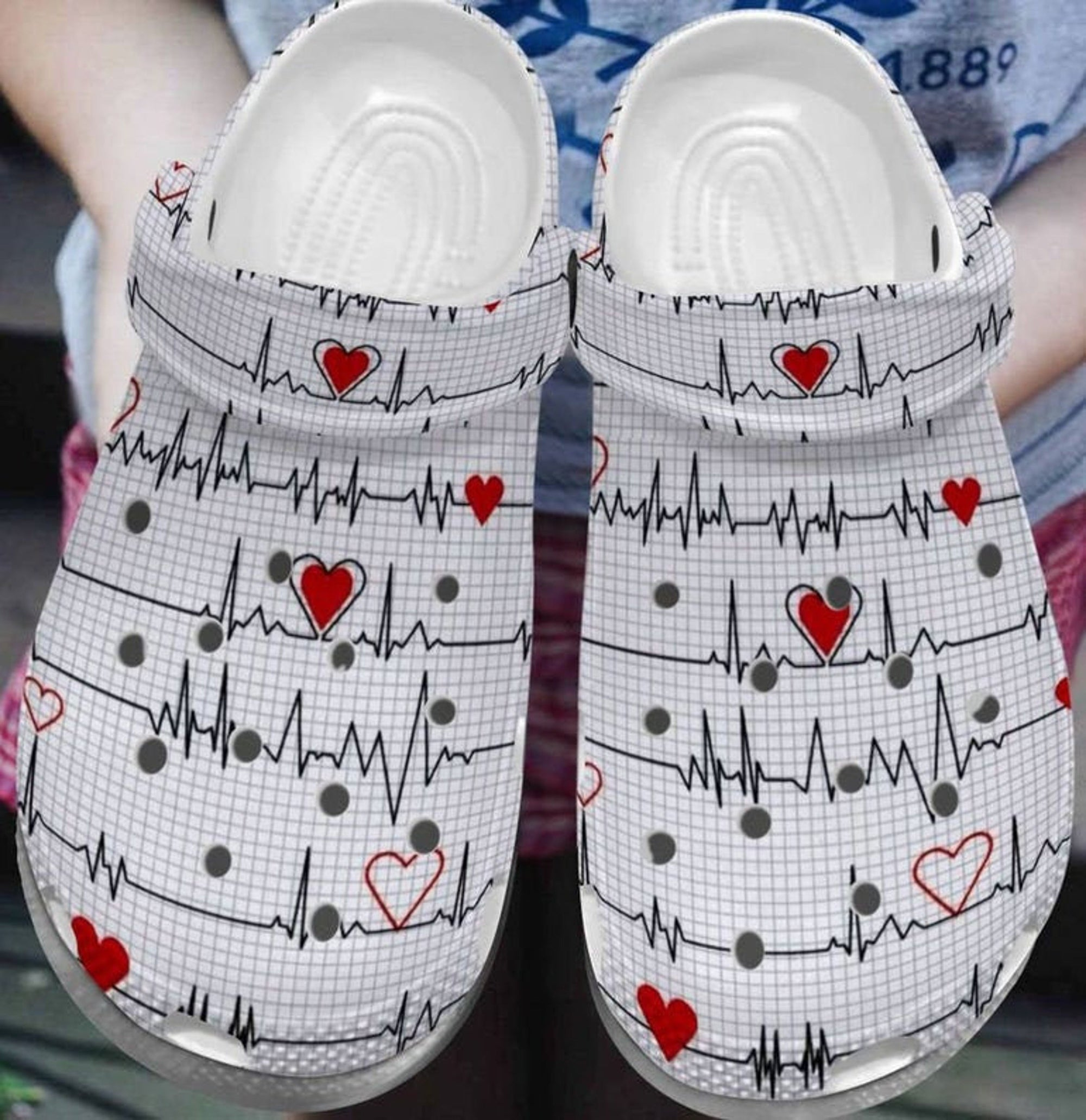 Nurse Heart Beat Crocs Crocband Shoes SNK112