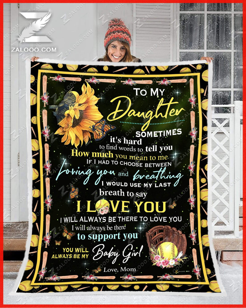 SOFTBALL - Daughter Mom - How Much You Mean To Me Quilt Blanket EP2787
