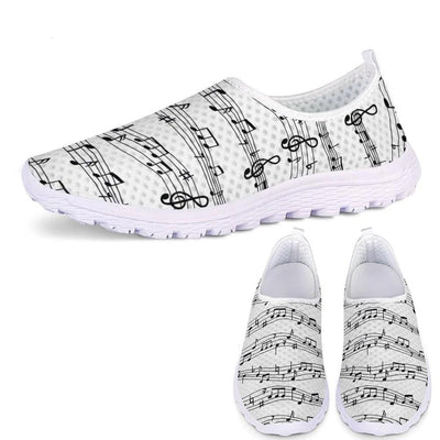 Music Notes Sneakers for Female Shoes Casual Flats Super Light