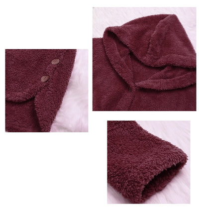 Coat Winter Casual Loose Solid Button Fleece Hooded For Women