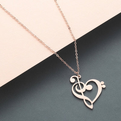 Music Note Heart of Treble and Bass Clef Necklace Steel
