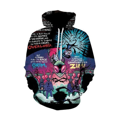Rick and Morty All Over Hoodie PF158 (Size Asia)