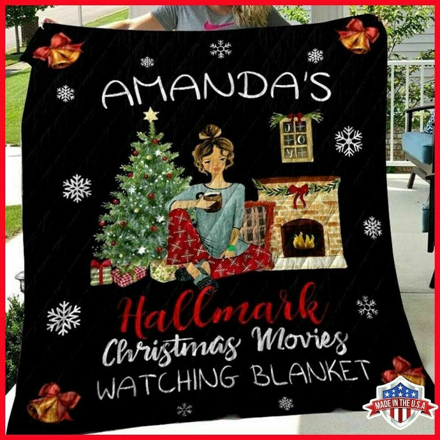 Amanda's (Personalized Name) Hallmark Christmas Movies Watching Movie Quilt Blanket EP246