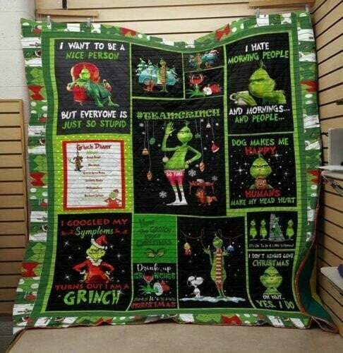 The Grinch I Want To Be A Nice Person Christmas Quilt Blanket EP366