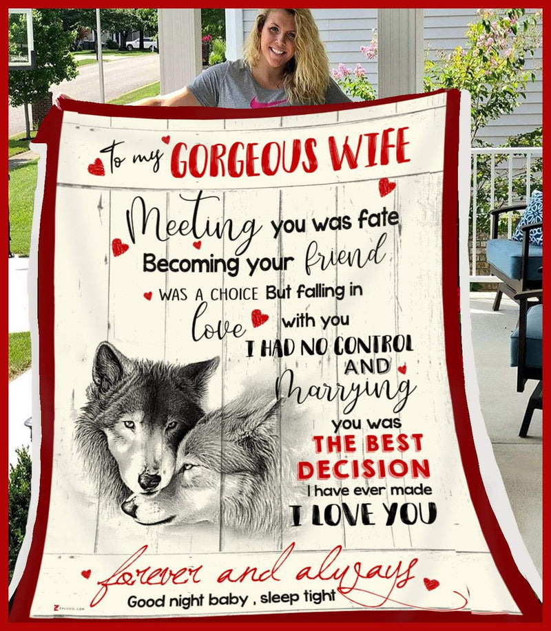 WOLF - To my Wife - Meeting you was fate Quilt Blanket EP1133