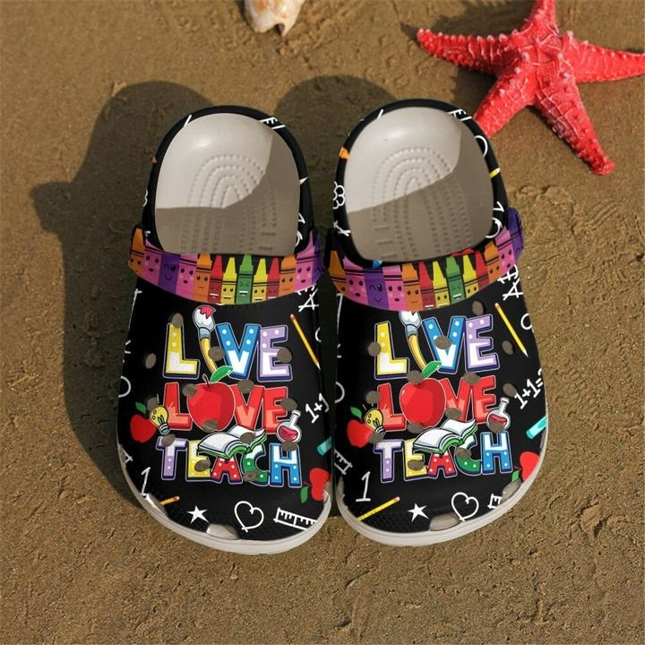 Teacher Live Love Teach Crocs Crocband Shoes SNK116