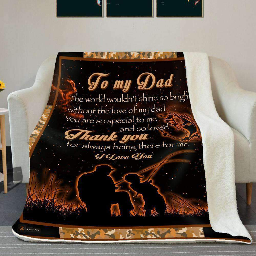 Fishing - To my Dad - Thank you Orange Quilt Blanket EP1687
