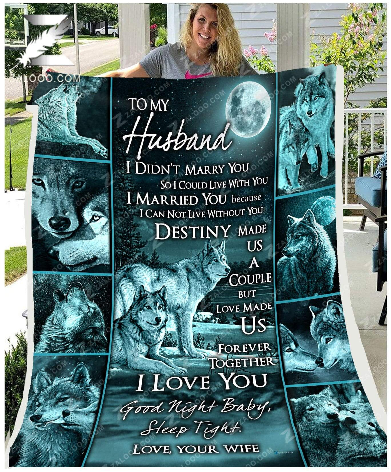 Custom WOLF - To my Husband - Destiny Quilt Blanket EP2490