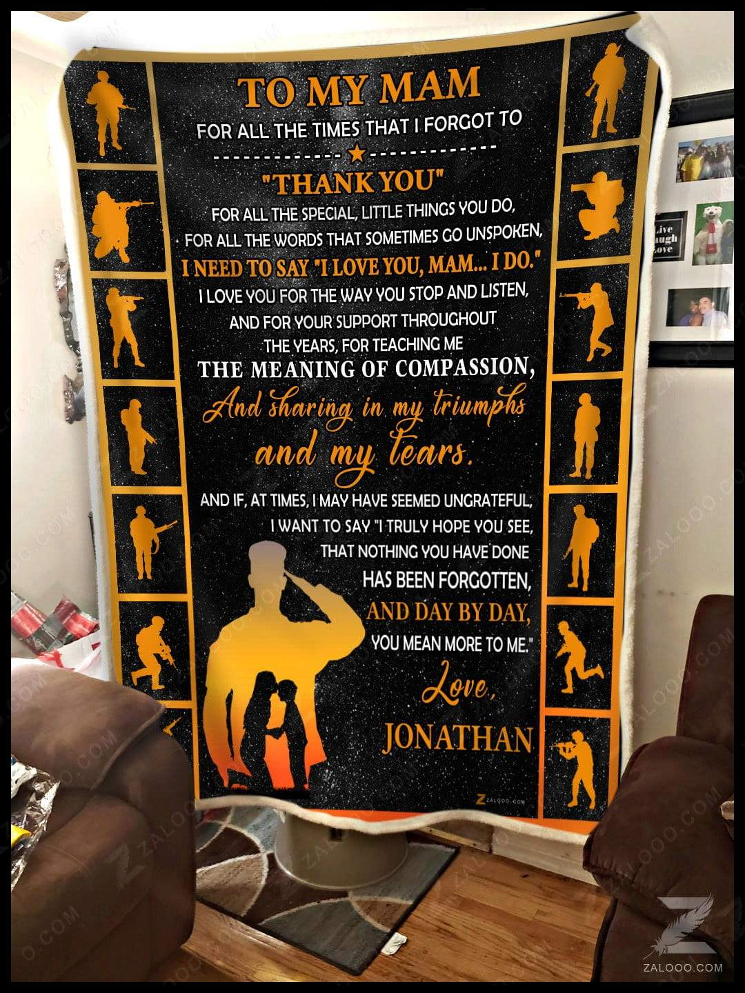 Veteran -  To My Mom - Thank You Jonathan Quilt Blanket EP2739