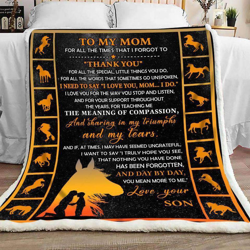 Horse - To my Mom - Thank you Quilt Blanket EP1603