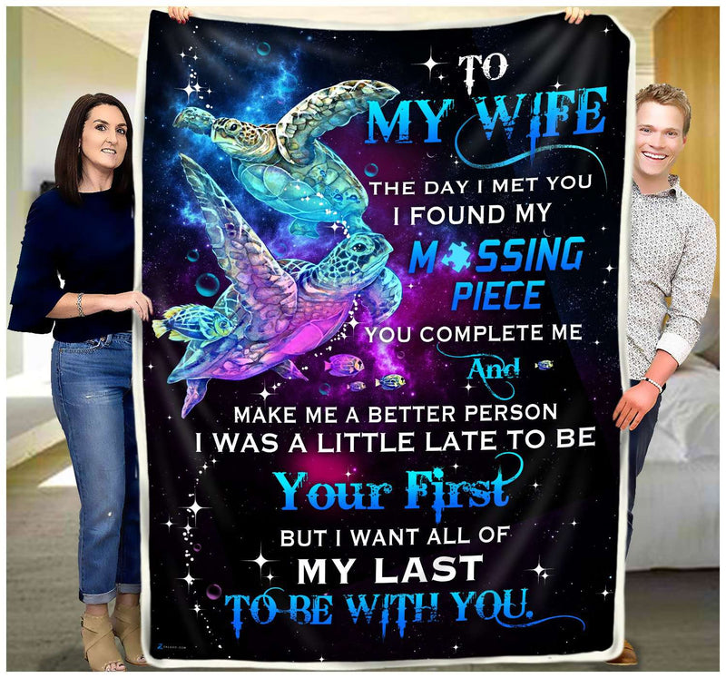 TURTLE - To My Wife - Missing Piece Quilt Blanket EP2340