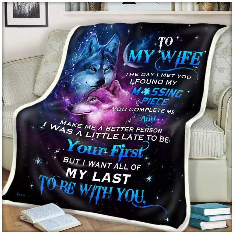 WOLF - To my wife - Missing Piece Quilt Blanket EP1185