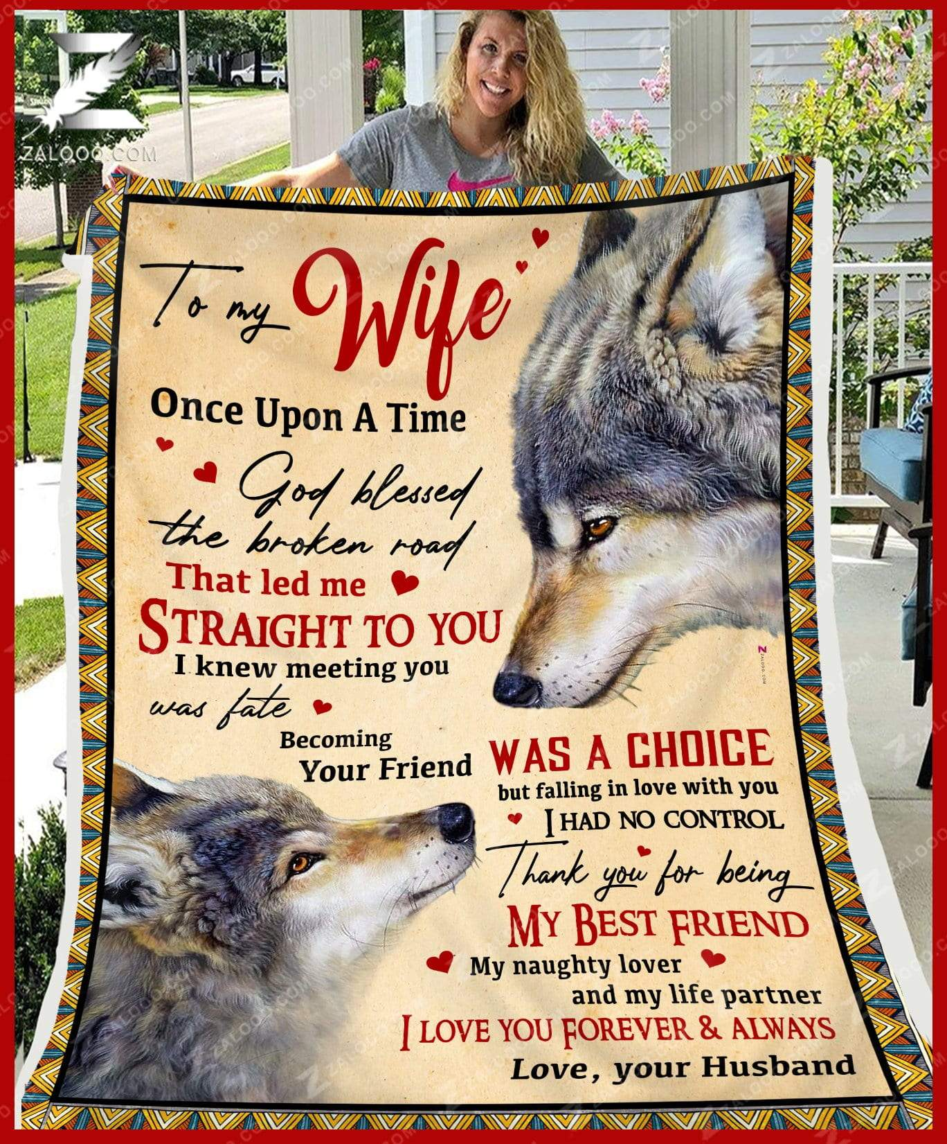 Custom To My Wife - Wedding Anniversary - WOLF - God Blessed The Broken Road Quilt Blanket EP2550