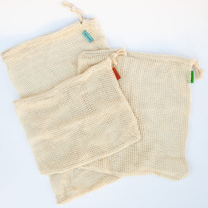 Cotton Mesh Bags (set of 3)