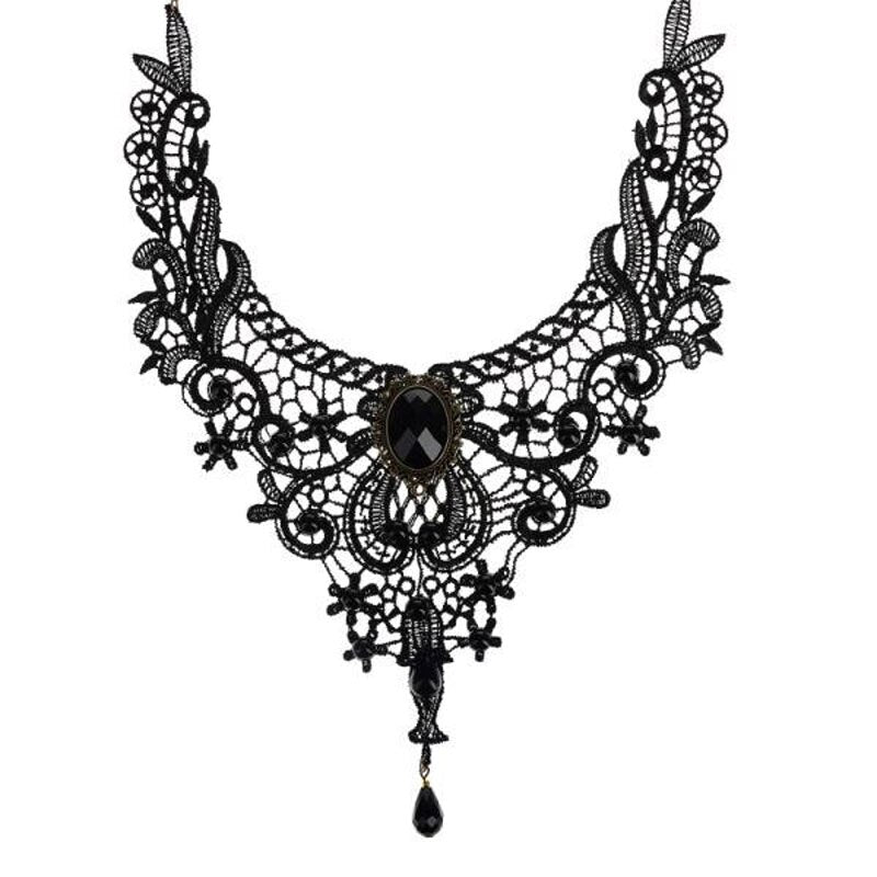 Midnight Sable Vintage Lace Necklace Collar