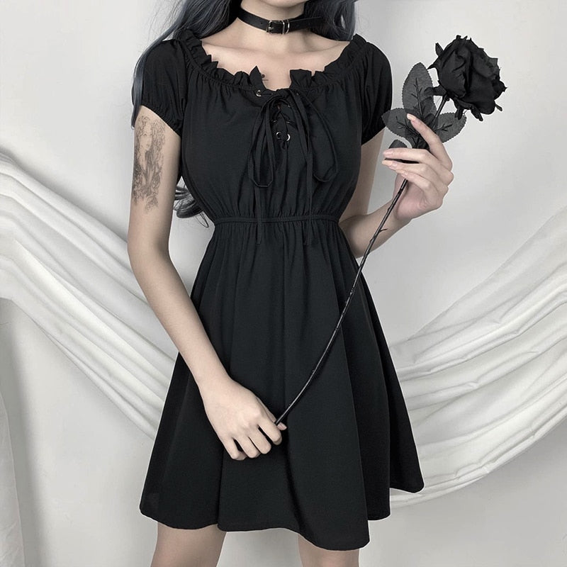 Elvira Charms Off Shoulder Black Dress