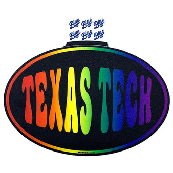 Blue 84 Texas Tech Rainbow Oval Sticker