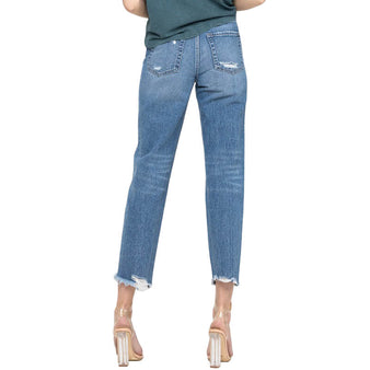 Women's Distressed Mom Jean