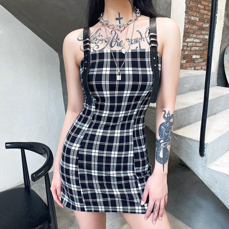Tight Hold Plaid Dress