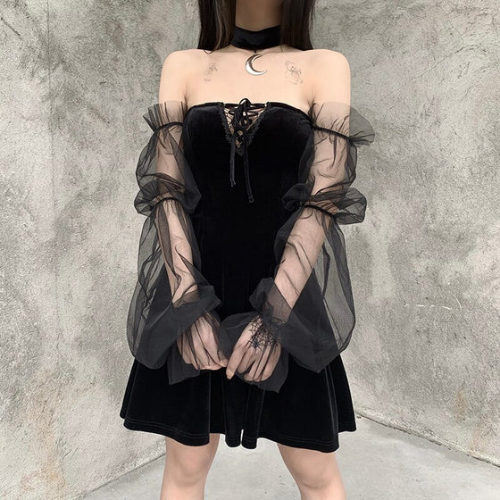 Moon Phase Spell Dress - ALTERBABE Shop Grunge, E-girl, Gothic, Goth, Dark Academia, Soft Girl, Nu-Goth, Aesthetic, Alternative Fashion, Clothing, Accessories, Footwear